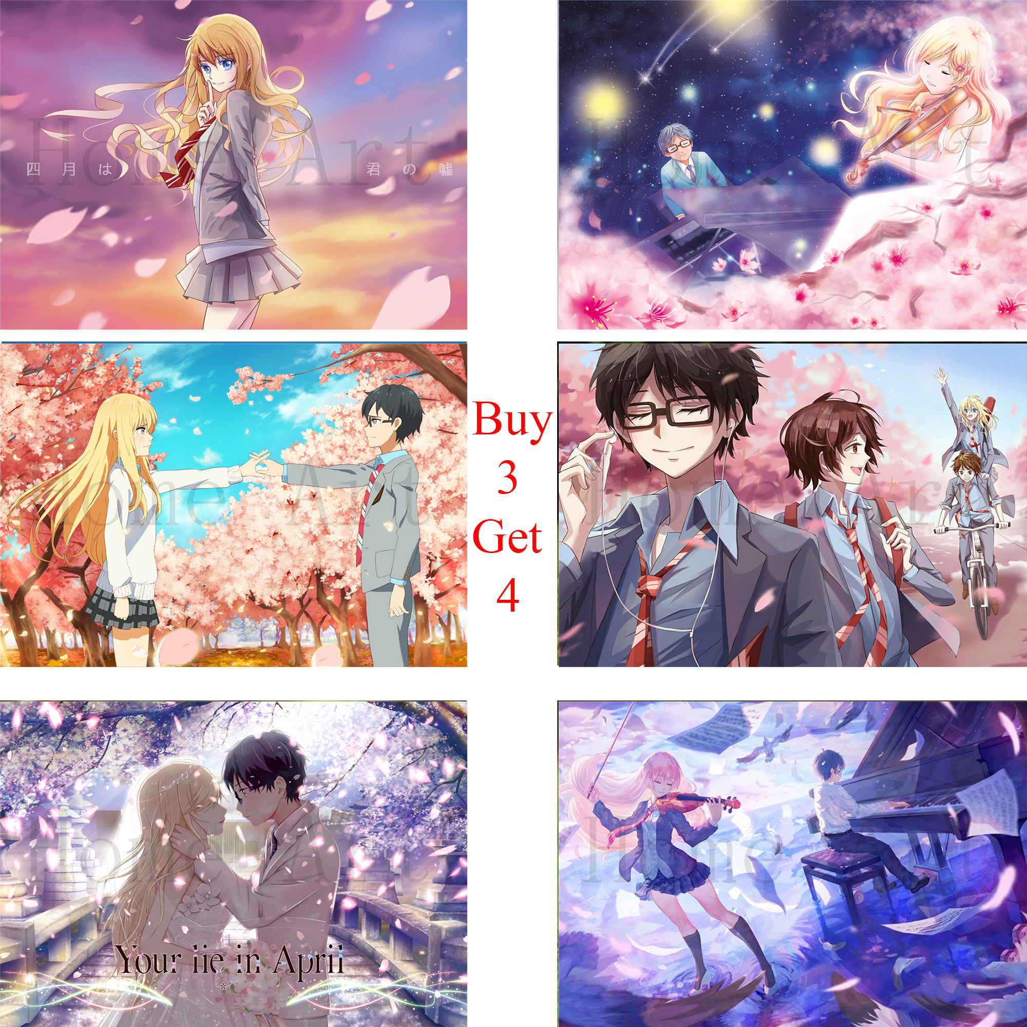 your lie in april poster clear image wall stickers home decoration high quality prints white coated paper home art brand