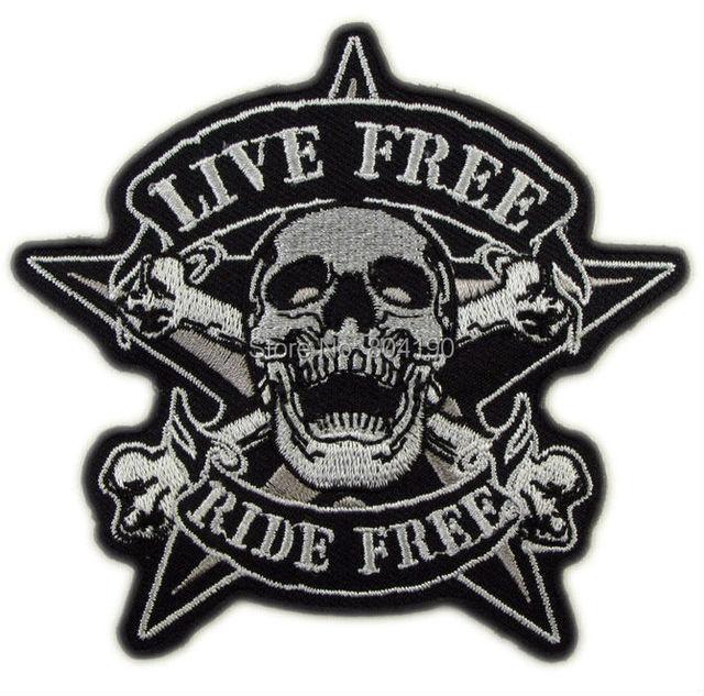 """Freebiker 3.9"""" live free ride free biker vest tattoo cool applique iron on"""