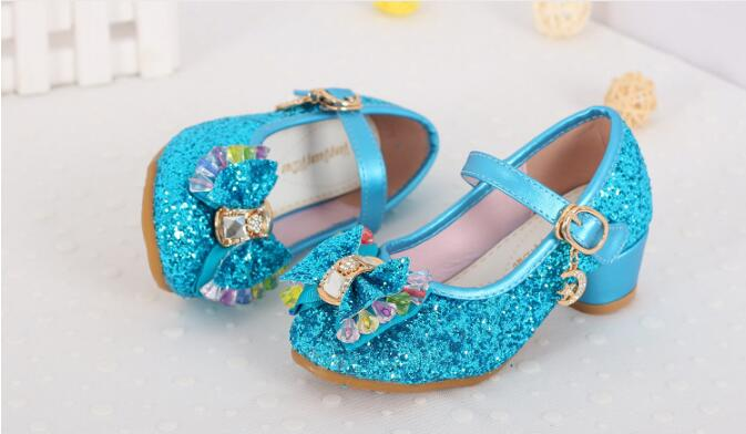 High quality 2017 Kids Girls High Heels Party Sequined Cloth Gold Pink Shoes fashion ankle Strap Snow Queen Children Girls Pumps