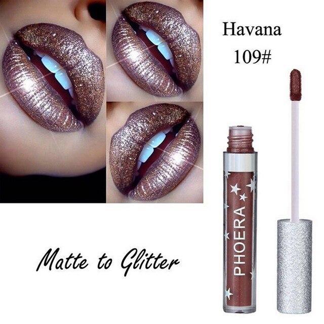 Lápiz labial líquido PHOERA Maquiagem mujer cosméticos marca brillo de labios brillante diamante brillo labios tinte maquillaje Metal brillo de labios