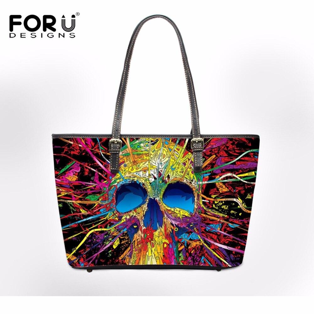 FORUDESIGNS 2017 Women Messenger Shoulder Bag Casual Pu Leather Woman Handbags Punk 3D Skull Female Cross-body Bags Bolsa Zipper