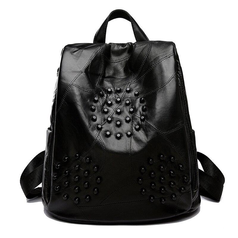 Girls Rivet Soft PU Backpack Street Punk Style Women Leather Travel Daypack Casual Shoulder Bag for Female Teenager School Bag стоимость