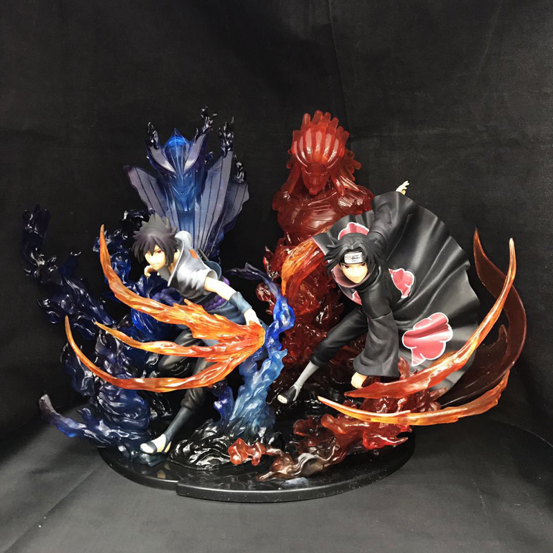 2pcs Set 8 Naruto Shippuuden Anime Uchiha Itachi & Sasuke Susanoo Battle Ver. Boxed 21cm PVC Action Figure Model Doll Toys Gift 5pcs relief headache red tiger head menthol balm refreshing vietnam gold tower tiger balm q3