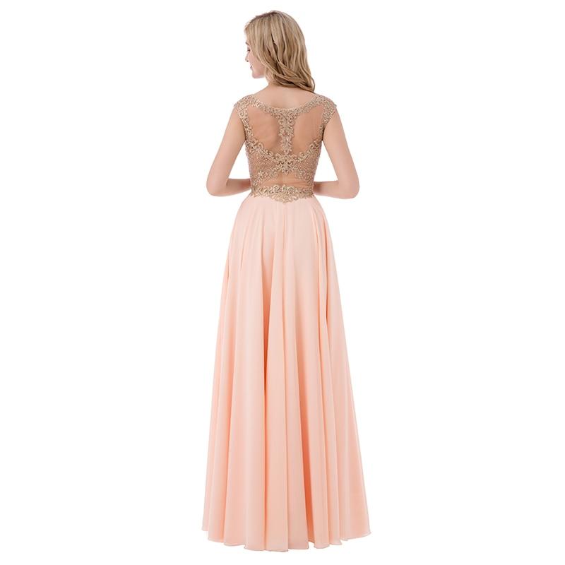 Sleeveless Chiffon Sheer Neck Illusion Back Long Bridesmaid Dress 8