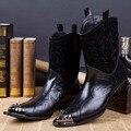 O envio gratuito de Nova chegada Dos Homens de Couro Genuíno Botas Casuais Moda Botas de Motoqueiro Rebites Dedo Apontado Ankle Boots para Os Homens