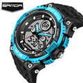 SANDA New Luxury Brand Men Military Sports Watches Digital LED Quartz Wristwatches Rubber Strap Relogio Masculino Watch