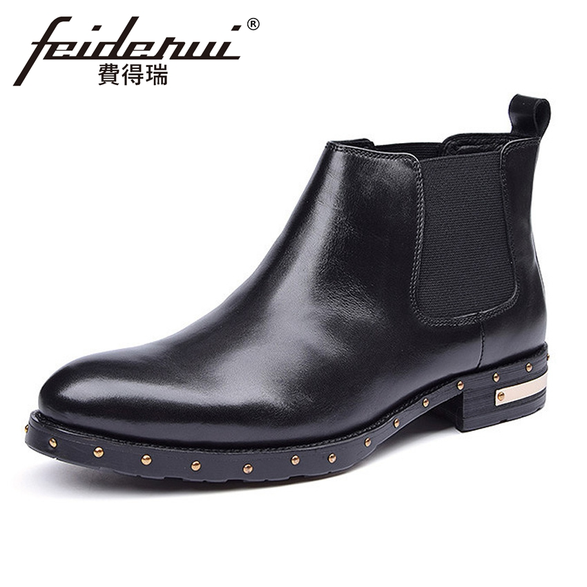 Fashion Genuine Leather Men's Chelsea Martin Ankle Boots Pointed Toe Studded Handmade Cowboy Man Outdoor Riding Shoes YMX384 free shipping 50pcs lot 24ghz type automatic door microwave sensor lt s24a black and silver color