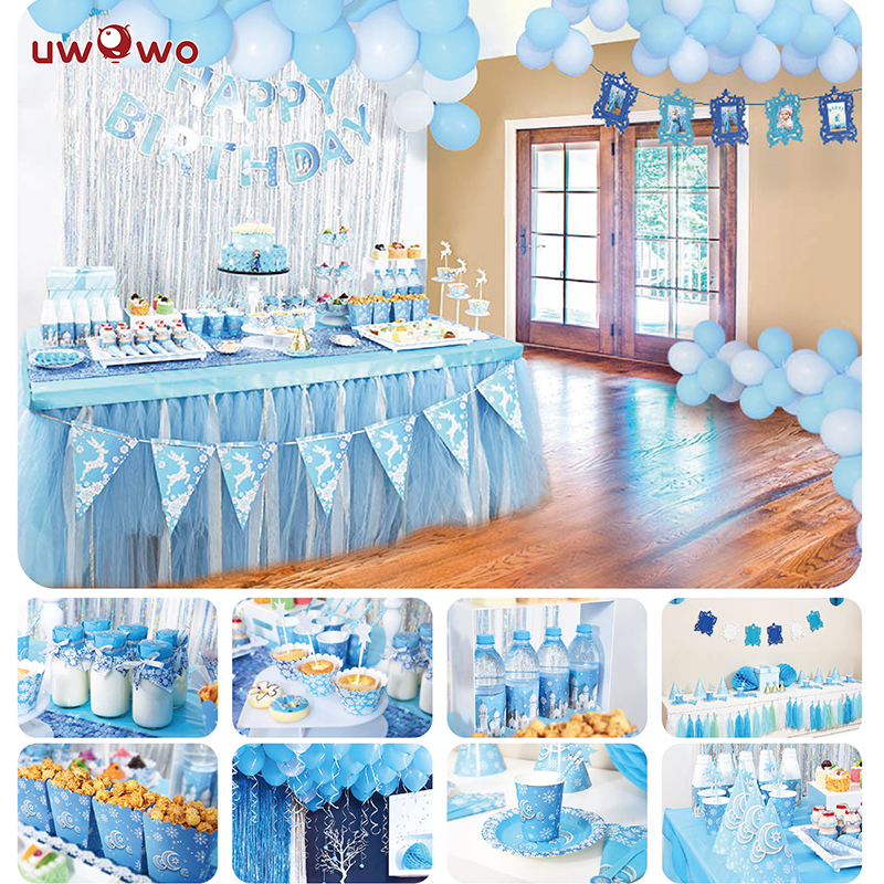 UWOWO Ice Princess Birth Party Decoration Full Set Party Game Play Anime Cosplay Princess Birthday Party Gift for Girls