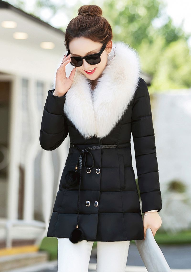 2016 New Winter Fashion Women Down jacket Fur collars Single breasted Medium long Coat Long sleeve