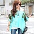 2015 Nova Moda Europeus e Americanos Bohemia Mulheres Blusas Floral Batwing Chiffon Solta T-Shirt Blusas Top Frete Grátis