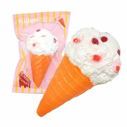 2019 New Jumbo Squishy Ice Cream Cone Slow Rising Kawaii Cake Scented Soft Toy Relieve Pressure Squishy Bread Toys Gift