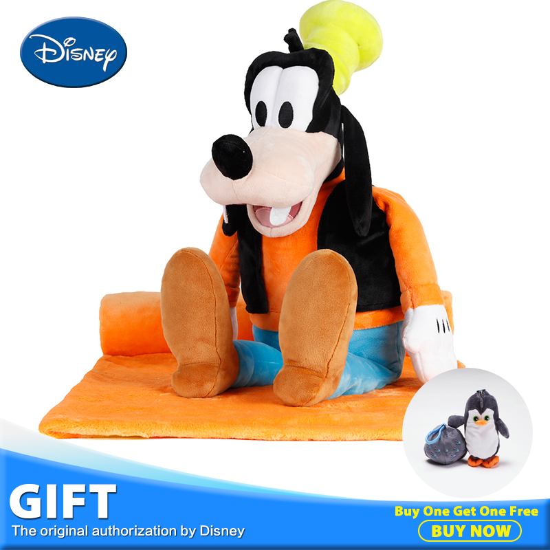 Disney Goofy Dog Plush Stuffed Toys Peluches Doll 3 in 1 Toy+Pillow Cushion+Portable Rest Warm Blanket Children Playing Toys cartoon dog plush pillow shiba inu toys for children gift contain plush flannel blanket bedroom cushion