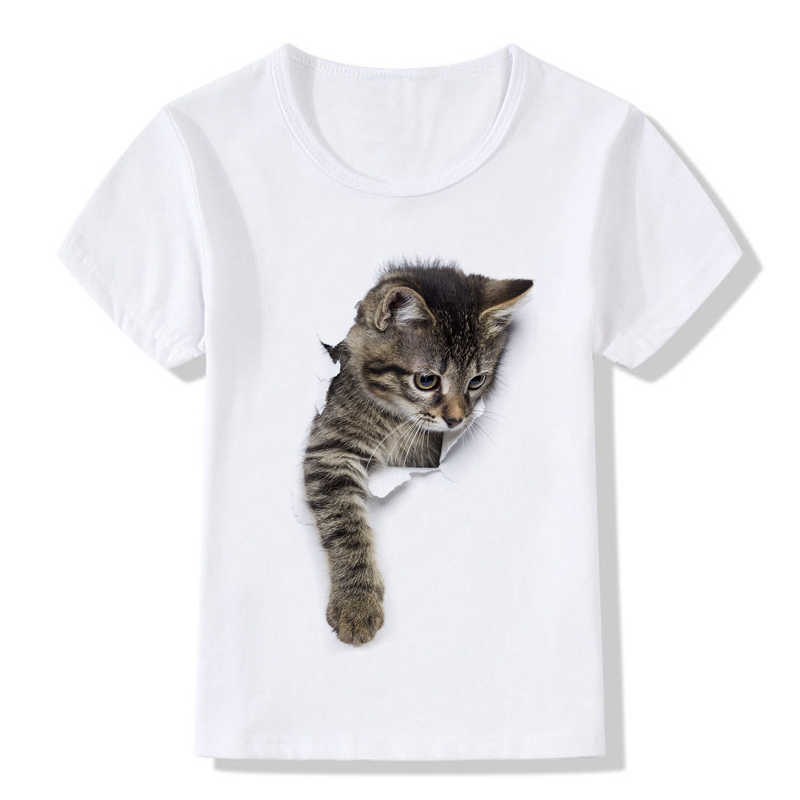Летние детские футболки, модная забавная одежда с объемным рисунком кота, милая детская футболка с короткими рукавами и принтом животных для мальчиков и девочек