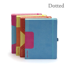 Dotted Hard Cover Geo Colors Textile with Elastic Undated Diary Bullet Journal Bujo