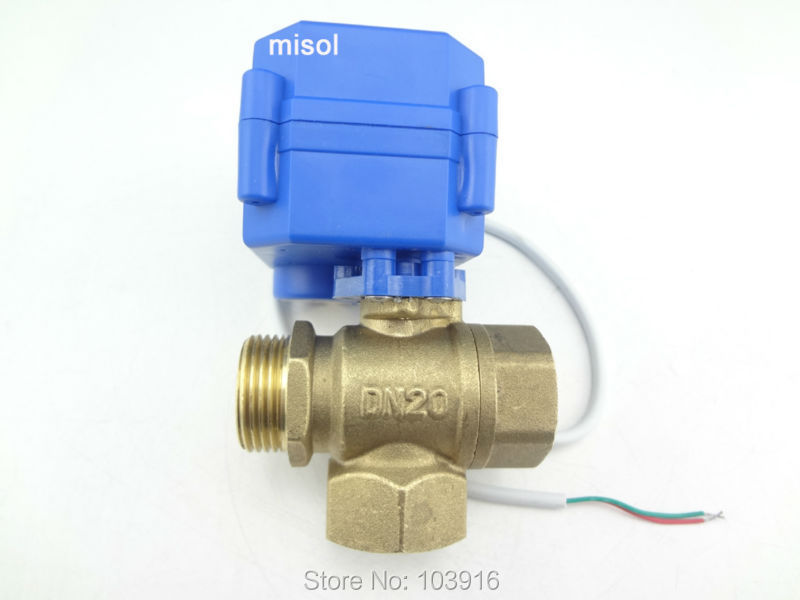 Free shipping!!! 3 way motorized ball valve DN20(reduce port), T port, 12VDC, ball valve, electrical valve стоимость