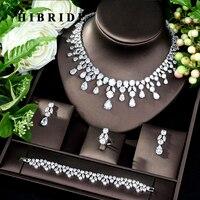 HIBRIDE Dubai 4pcs Bridal Zirconia Jewelry Sets For Women Party, Luxury Nigeria CZ Crystal Wedding Jewelry Sets N 182