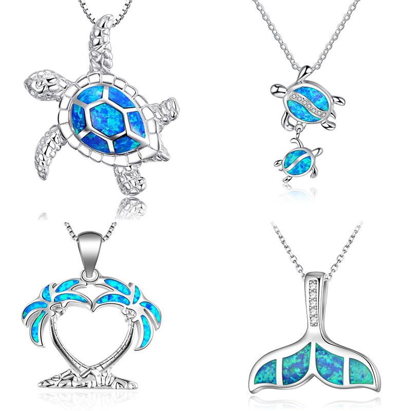 Fashion Silver Filled Blue Imitati Opal Sea Turtle Pendant