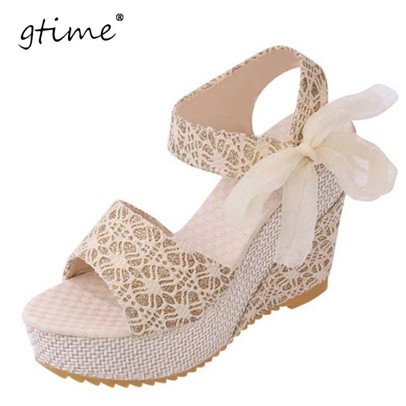 Gtime الأزياء الصنادل الصيفية أسافين المرأة الصنادل منصة الدانتيل حزام القوس زحافات المفتوحة تو أحذية عالية الكعب النساء # ZWS66