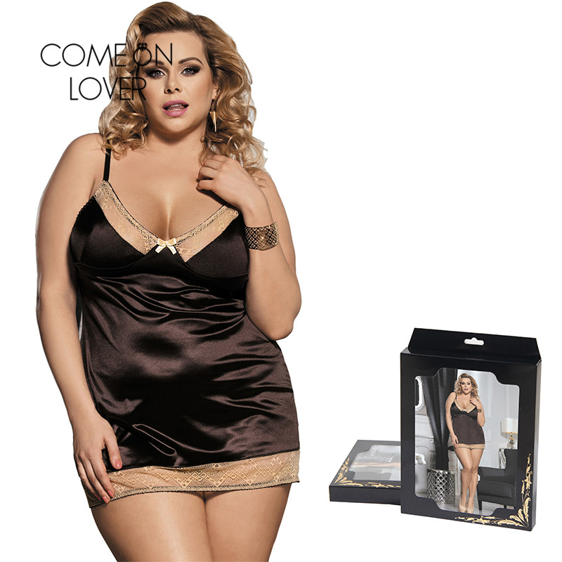 Comeonlover Intimo Donna Sexy Hot Gold Lace Brown Satin Chemise Underwear Plus Size Costume Sleepwear Babydoll Lingerie RI80352