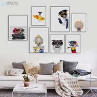 Kawaii Fashion Hippie Animal Cosplay Dog Pet Poster Nordic Living Room Wall Art Print Picture Home Deco Canvas Painting Custom