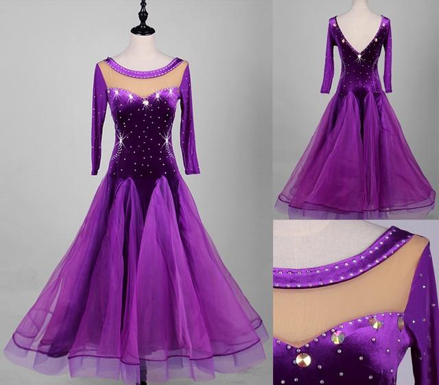 0e21fc11a1 Women Standard Ballroom Dance Dresses Adult New Design Purple Color Organza  Ballroom Competition Dancing Dress