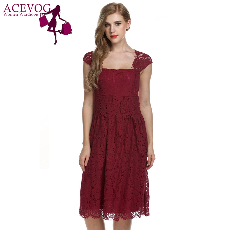 004ae4e7a18f ACEVOG Women lace dress for women 2017 summer casual elegant high waist  vintage 5 color S M L XL XXL sexy brand party vestidos