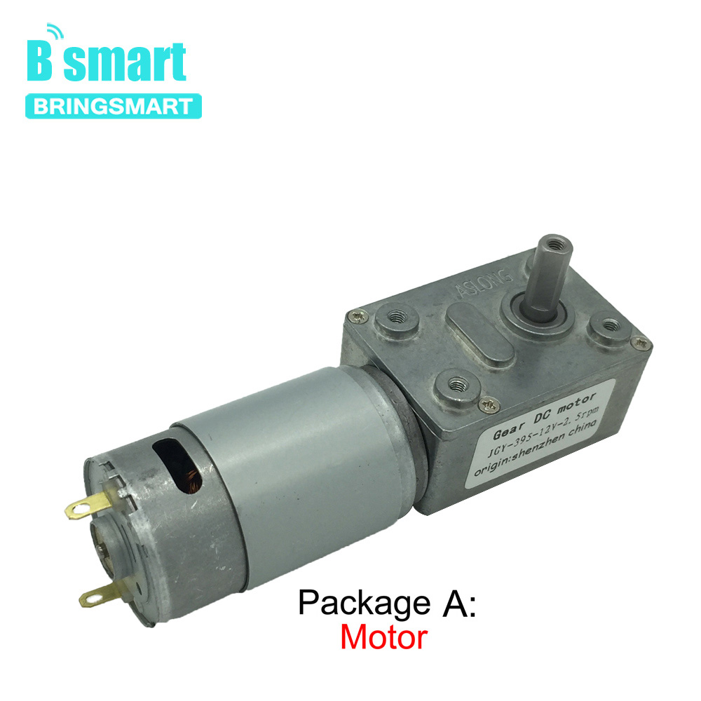 Bringsmart JGY-<font><b>395</b></font> 12V <font><b>DC</b></font> Gear <font><b>Motor</b></font> with Self-locking All Metal Gear Turbine Worm for Robot Electric Curtain/Door BBQ DIY image