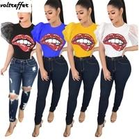 2018 Summer Big Red Lips Cartoon Printed Tshirt For Women Butterfly Sleeve Camiseta Cute Ruffles Sexy Korean Blusas Kawaii XXL