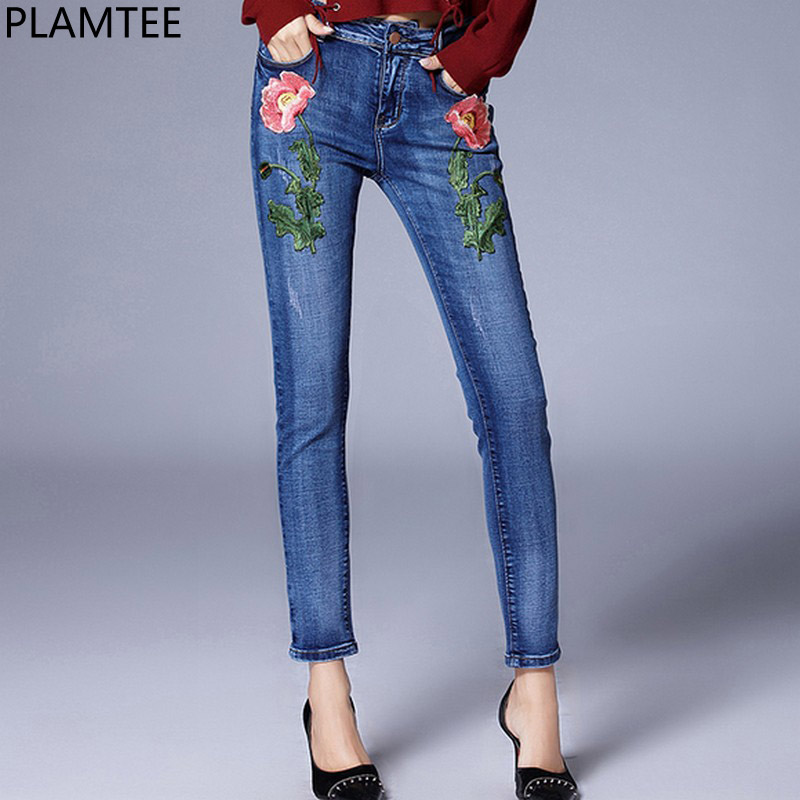 PALMTEE Floral Embroidery Jeans For Women Elastic Pencil Denim Pants Female Skinny Jean Trousers Autumn Winter 2017 New Vaqueros free shipping women s skinny pants jeans female jeans belt clothing pencil pants elastic women s trend