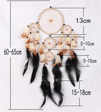 Handmade creative 5 circle dream catcher with feather wall hanging decoration room craft ornament big dreamcatcher birthday gift