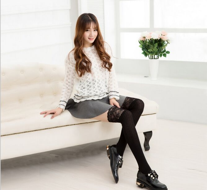 Fashion New Voile Lace Long Knee Socks Vertical Stripe -5875