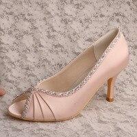 Hot Design Rhinestone Heels Ladies Wedding Shoes Pump Open Toe Autumn Shoes Beige Free Shipping Dropship
