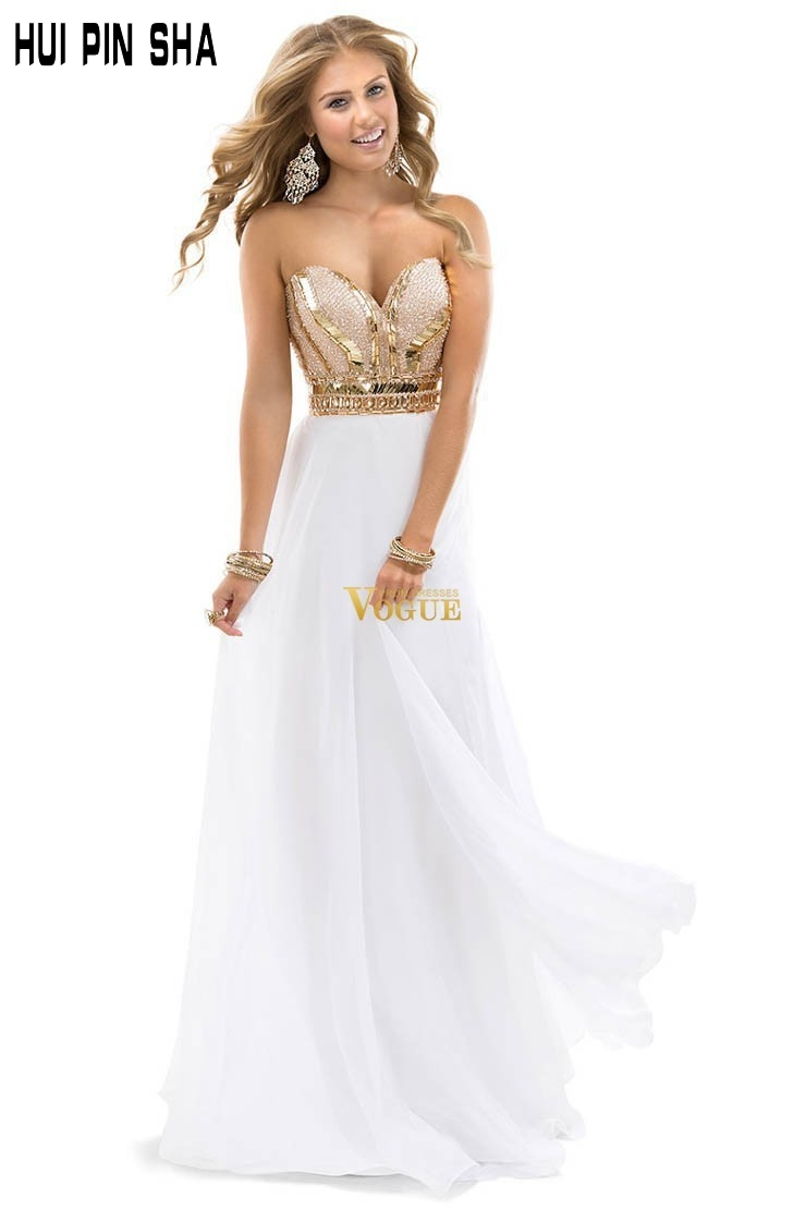2017 New Arrival Free Shipping Best Selling Noble Beaded Sweetheart Chiffon White Rose Gold Sparkle Evening Dress Prom Gowns