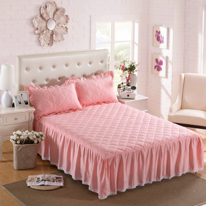 THICKEN winter quilted bed skirt 100% cotton Bed cover cotton pad - Home Textile - Photo 1