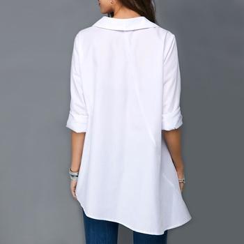 Plus Size Women White Shirt Tops Colorful Button Anomalistic Women's Blouse Long Sleeve Summer Tunic Fashion Woman Blouses 2019 3