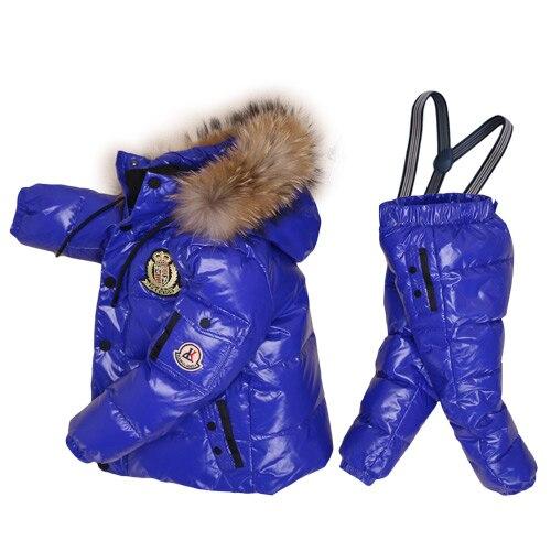 -30 degrés russie hiver Ski combinaison enfants vêtements garçons filles Sport costume enfants neige porter vestes manteaux bavoir pantalon imperméable