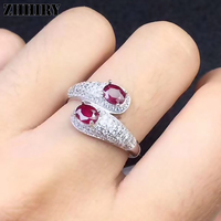 ZHHIRY Real Natural Ruby Ring Genuine 925 Sterling Silver Precious Red Gemstone Rings For Women Fine Jewelry