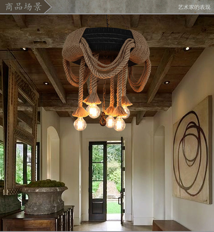 Loft Style American Country Vintage Personality Hemp Rope Tire Dining Room Restaurant And Balcony Pendant Light Free Shipping