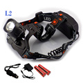 Poderoso Cree XM-L2 Levou Farol Zoom Foco Porta Usb Cabeça Lampe Frontale Lâmpada luz Tocha Lanterna + 18650 Bateria + carregador
