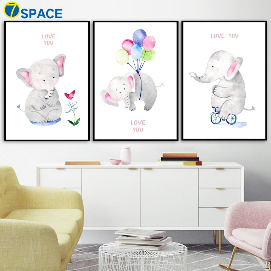 Personalized Name Cartoon Elephant Star Balloon Nursery Canvas Art ...