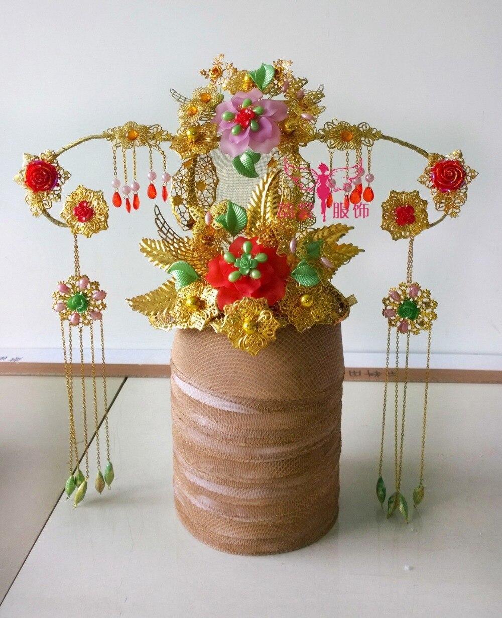 Photography Use Hanfu Costume Hair Tiaras Bride Wedding Hair Crownpiece 00009 red gold bride wedding hair tiaras ancient chinese empress hair piece