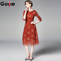 Guijie Bodycon Work Party Lace Dress Slim 3/4 Sleeve Women Floral Crochet Casual Office Brick Red Dresses Vestidos robe femme