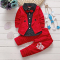 2016 New Gentleman Boys Clothing Set Children Spring Autumn Coat Pants Fake Three-piece Baby Kids Clothes Suit