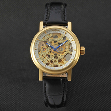 WINNER Automatic Golden Hollow Hot Watches Alloy Fashion Leather Colored Dial Ca