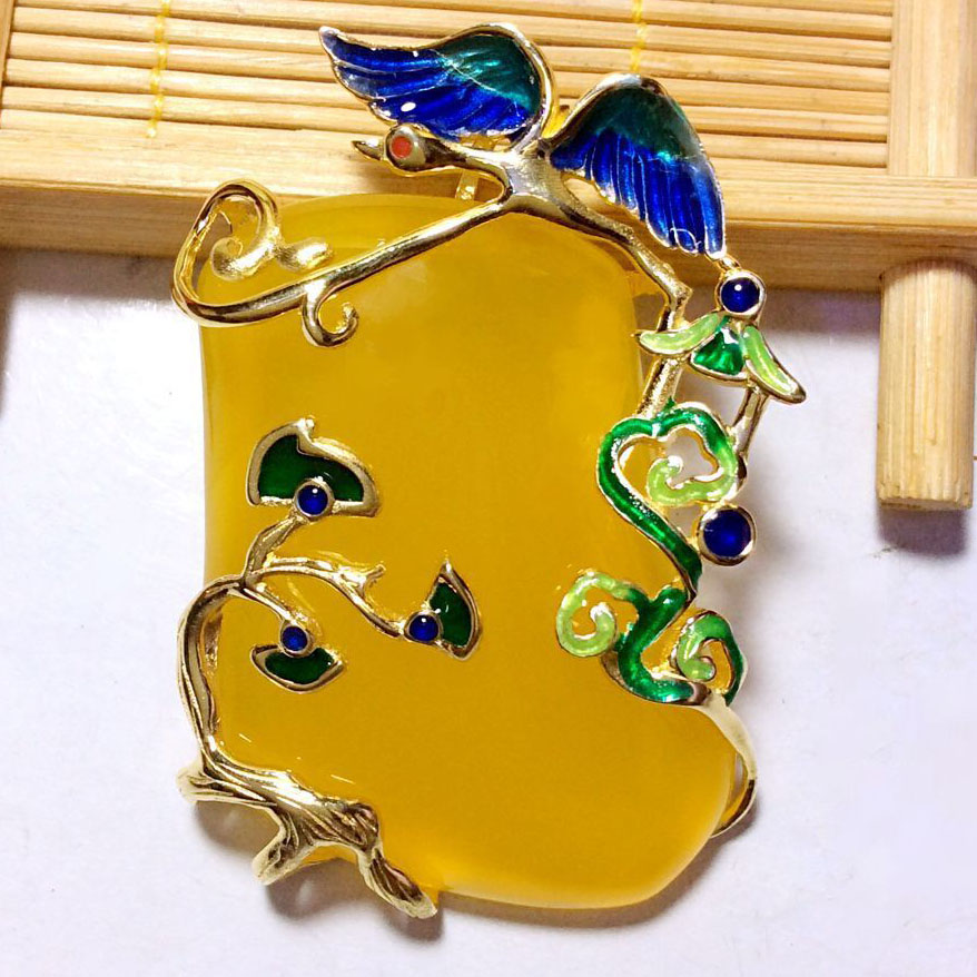 Wings Hollow Tree Branch Cloisonne Yellow Natural Chalcedony 925 Pendant