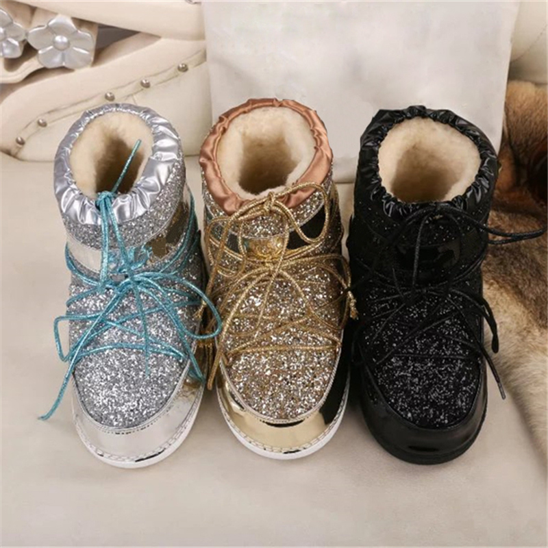 New Arival Bling Bling Gliter Snow Boots Winter Shoes Woman Slip on Round Toe Ankle Botas Thicken Warm Soft Fur Flat Heel Shoes hee grand women snow boots winter flat panda pattern shoes woman fur cotton slip on snow ankle boots size 35 40 xwx4498