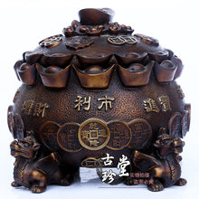 Pure copper brave cornucopia Quartet Lucky brave ingot incense burner home furnishings office business is booming(China)