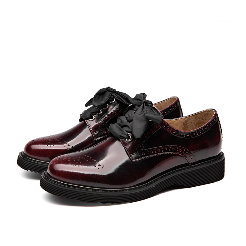 12468c028cb63 BeauToday Derby Shoes Women Genuine Cow Leather Round Toe Patent Leather  Handmade Brogue Style Flats 3 Kinds of Shoelaces 21083-in Women's Flats  from Shoes ...