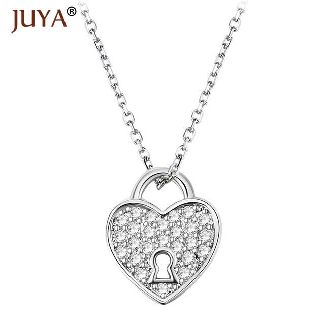 silver key czir and over pendant zirconia cubic lock gold love