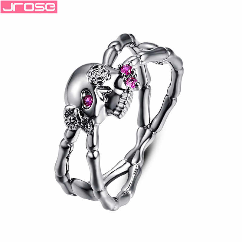JROSE New Popular Gun Black Cross Skull Rose Flower Silver Rings for Women Gothic Engagement Wedding Party Ring Punk Jewelry